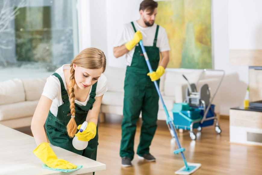 Professional cleaners cleaning a home