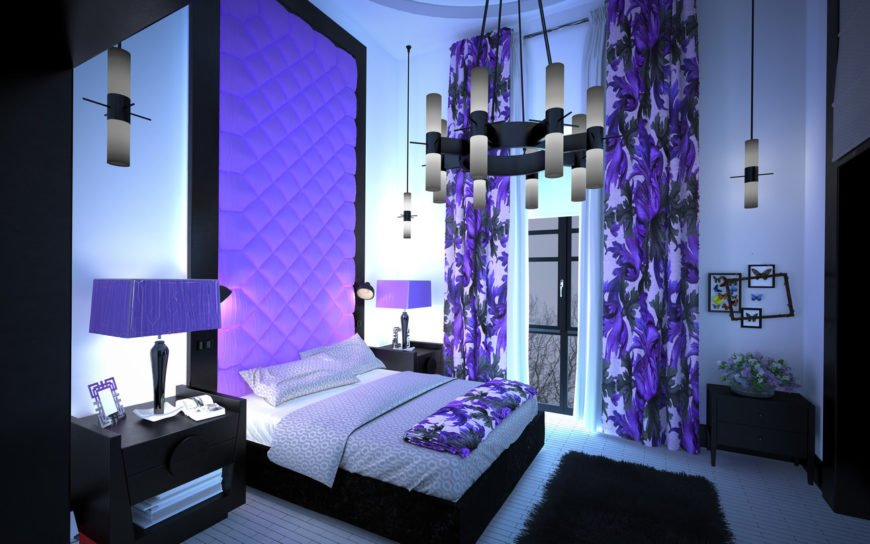 Purple primary bedroom interior design