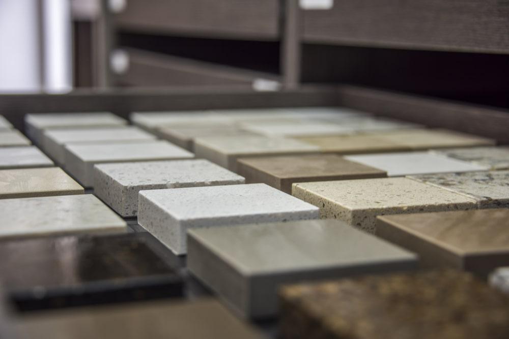 This is a close look at samples of quartz slab countertops.