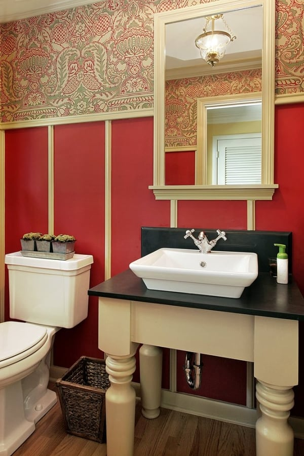 Red Traditional powder room.