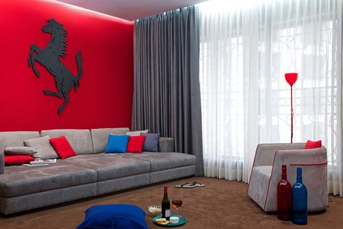 Red, grey and blue family room.