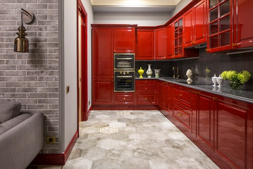 Red and grey kitchen.