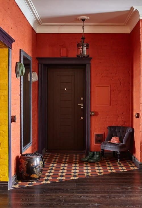 Red tiny foyer.