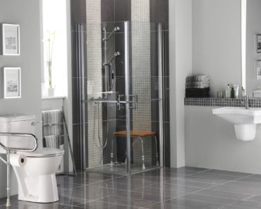 Bathroom for people with disabilities, elderly and mobility challenges outfitted with bathroom safety accessories.