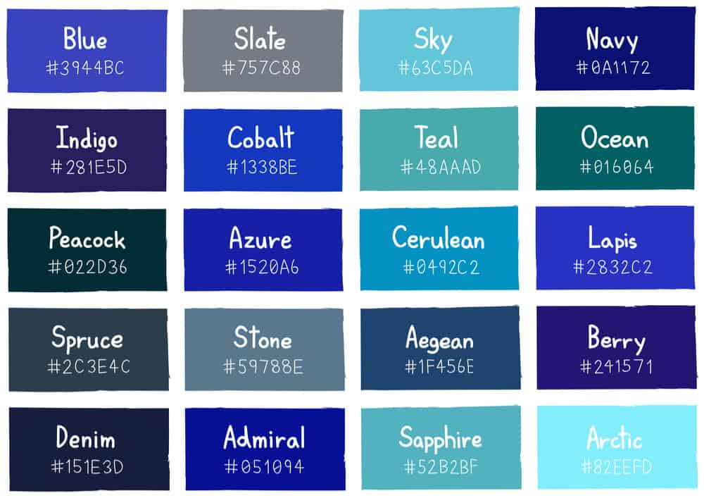 Shades of Blue Color Chart