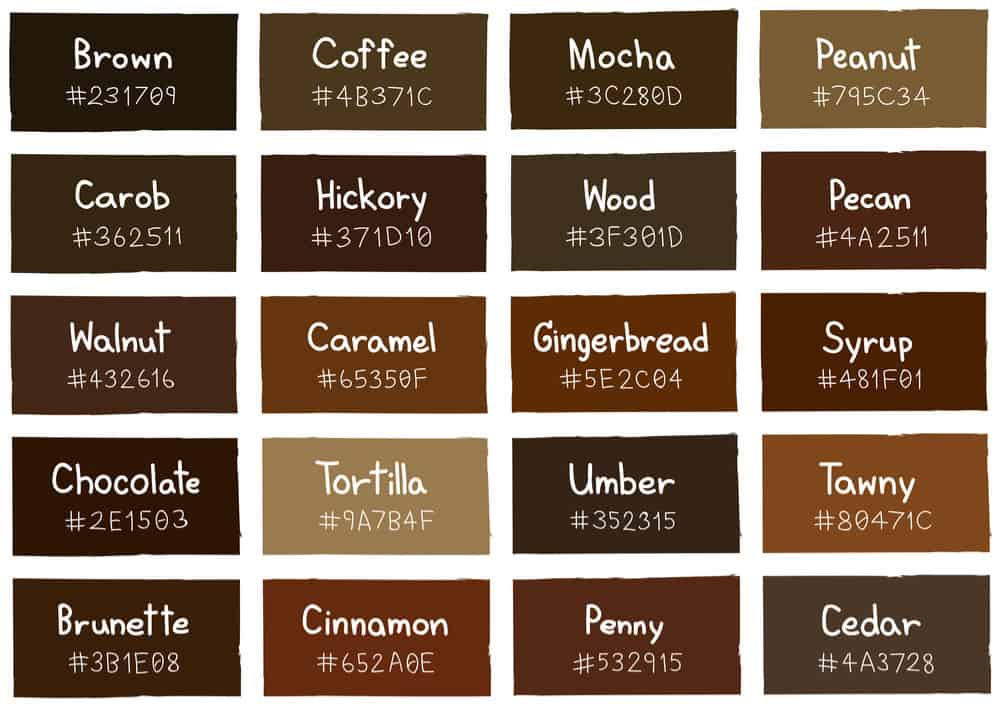 Shades of brown color chart