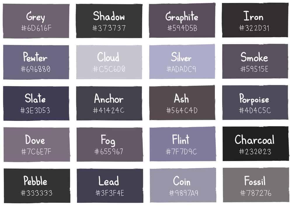 Gray Color Chart