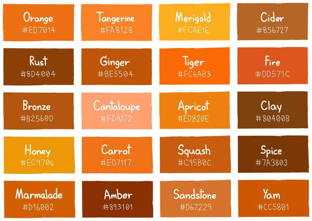 Shades of orange color chart for interior design