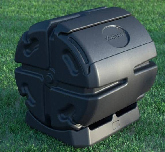 Black plastic composter with a small size.