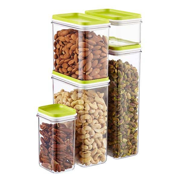Stackable containers.