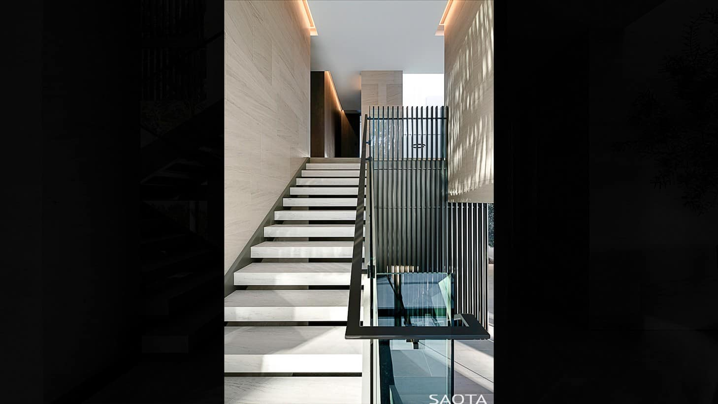 The home features modern style staircase leading to the house's another level. Photo Credit: Adam Letch