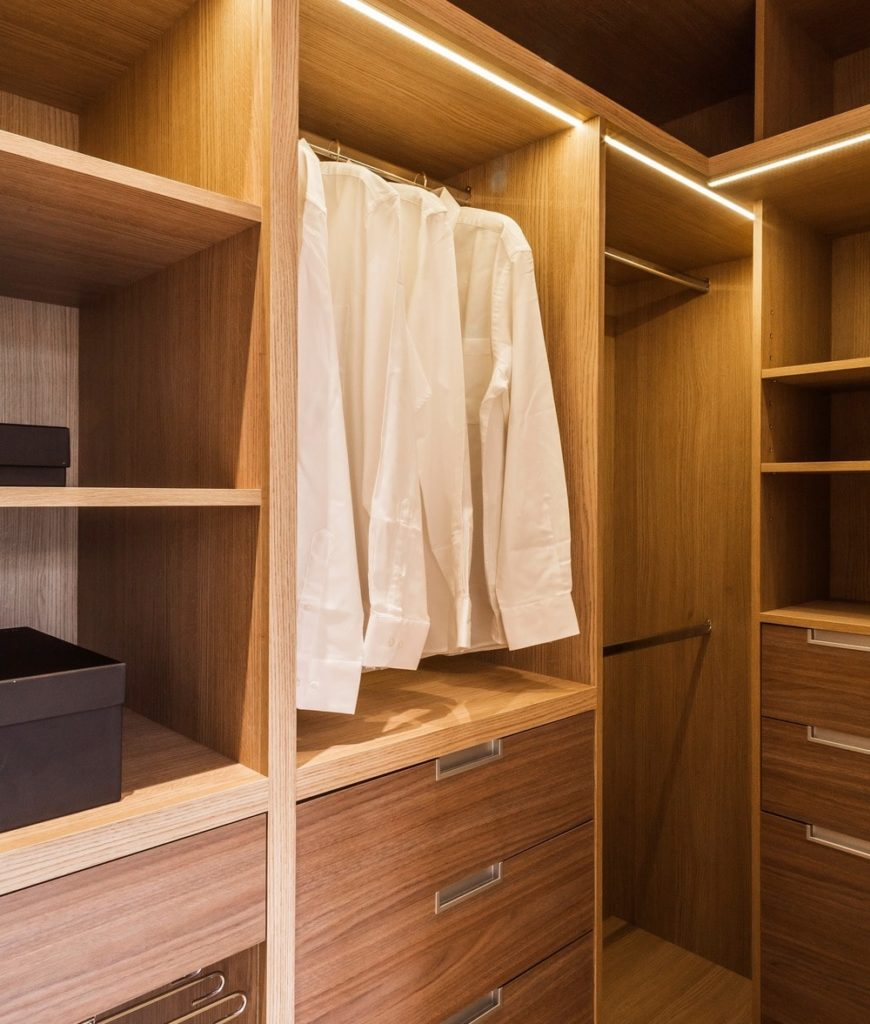 The closet offers multiple drawers and storage. Photo Credit: Rick Mccullagh