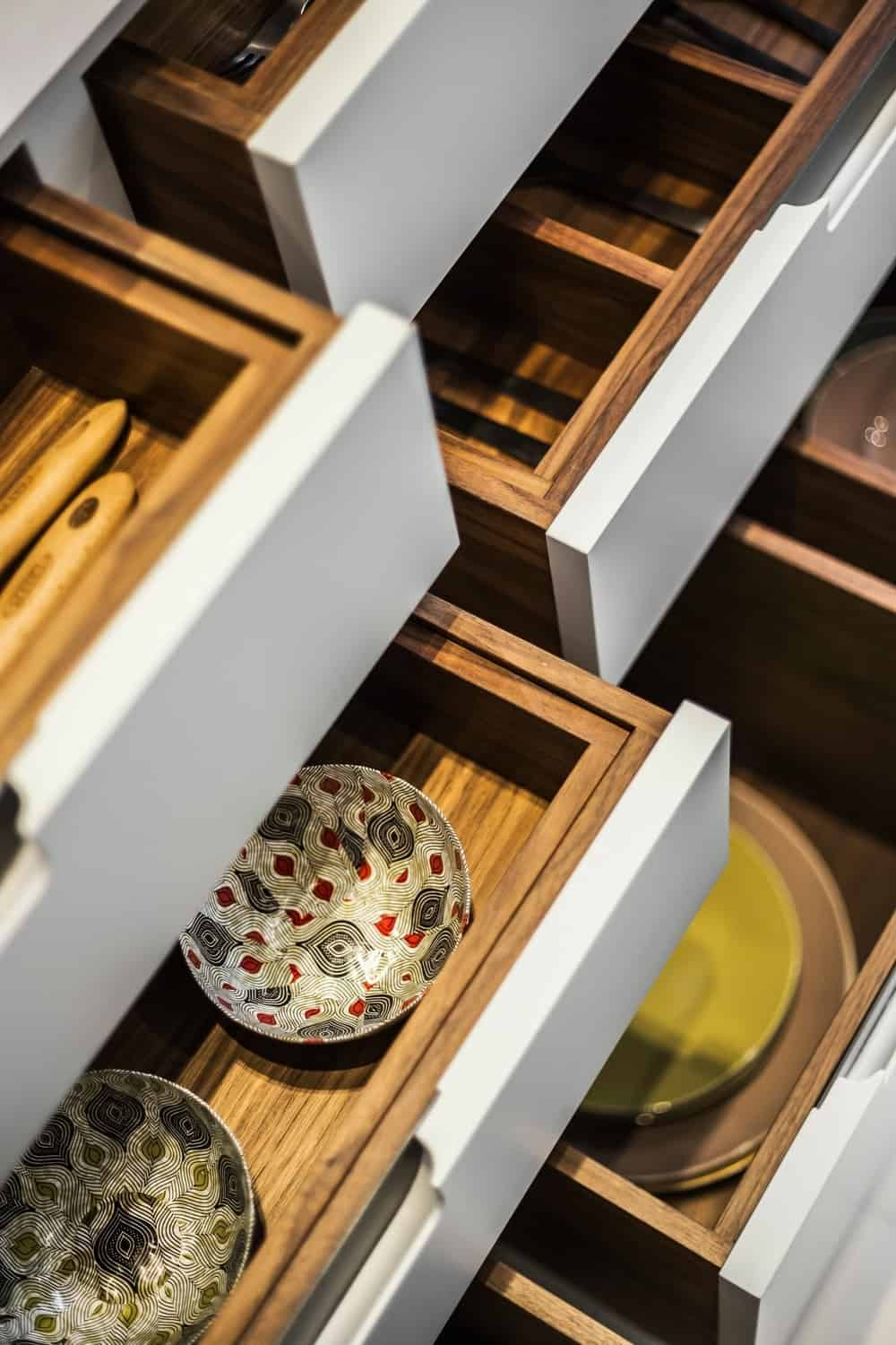 A close up look of the kitchen's multiple drawer storage. Photo Credit: Rick Mccullagh
