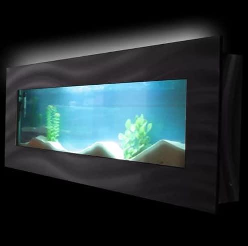 Wall-mounted fish tank.