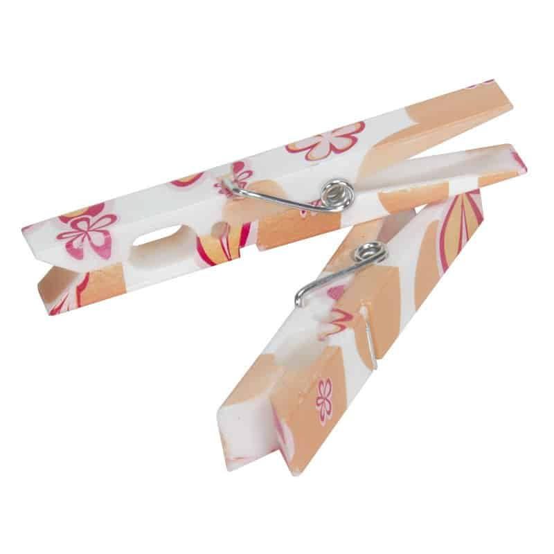 Clothespin with floral designs