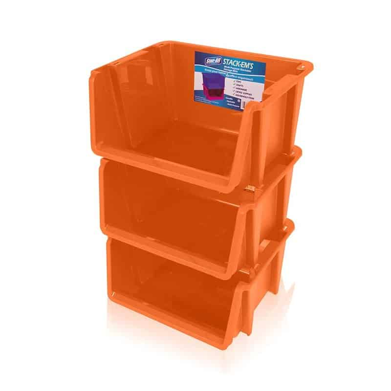 Stackable orange storage bin