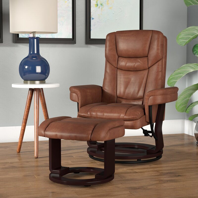 Faux Leather Manual Swivel Recliner with ottoman from Wayfair.