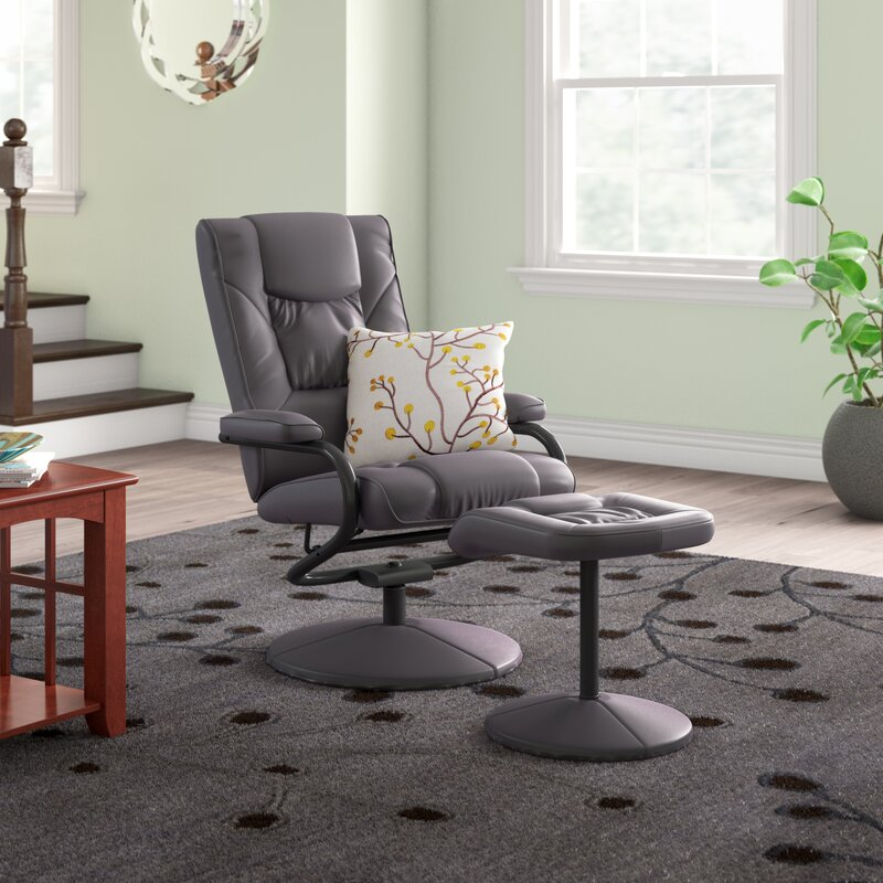 The Hillsg Faux Leather Manual Recliner with ottoman from Wayfair.