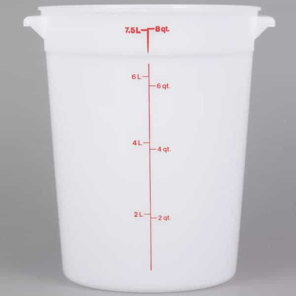 White polyethylene container.