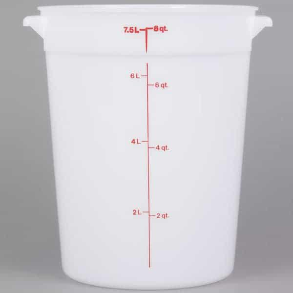 White polyethylene container.