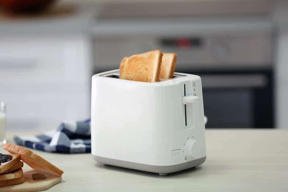 White, standard toaster perfect for small kitchens.