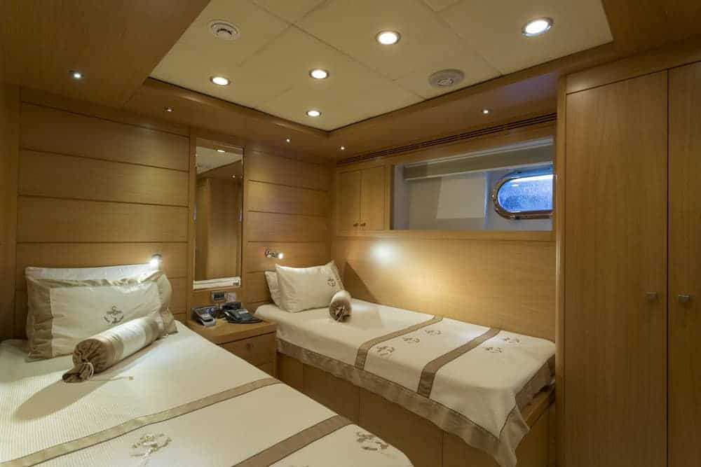 yacht bedroom with 2 beds