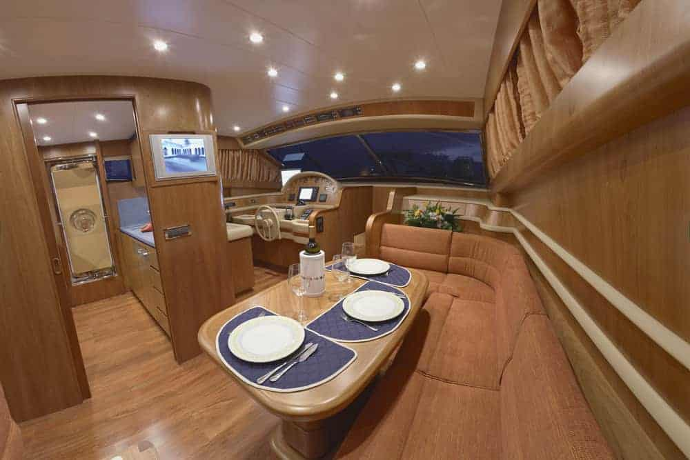 yacht dinette area bench seating