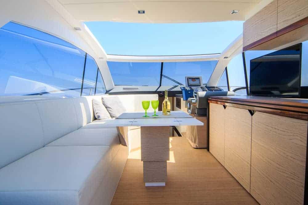 yacht interior sitting area