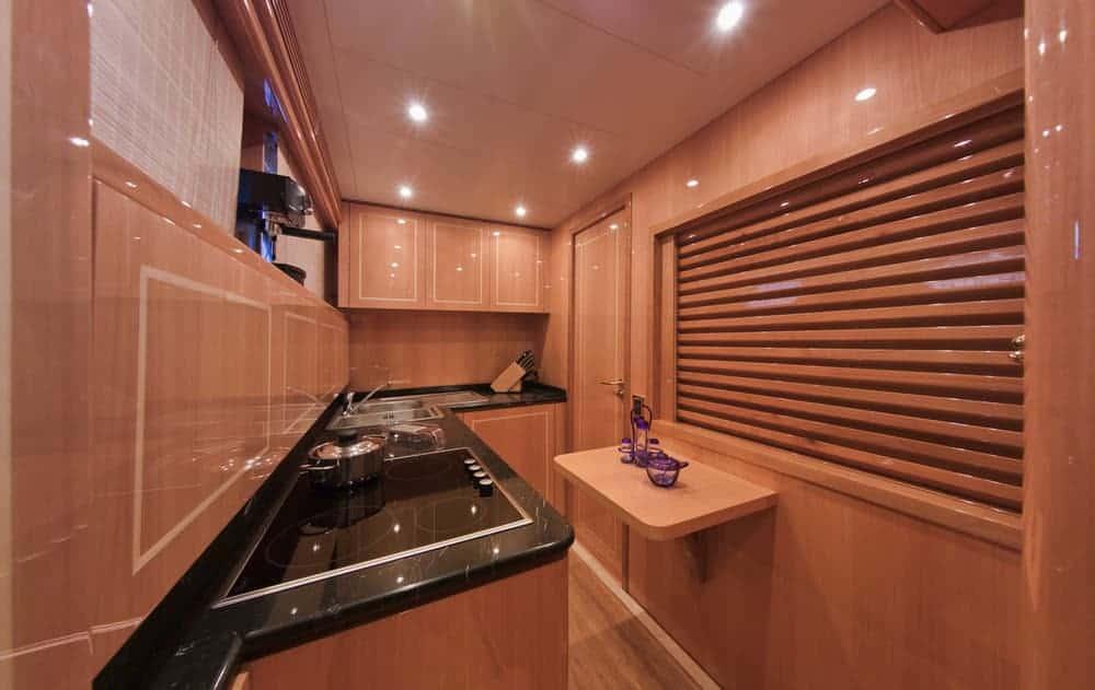 yacht kitchen area black countertop