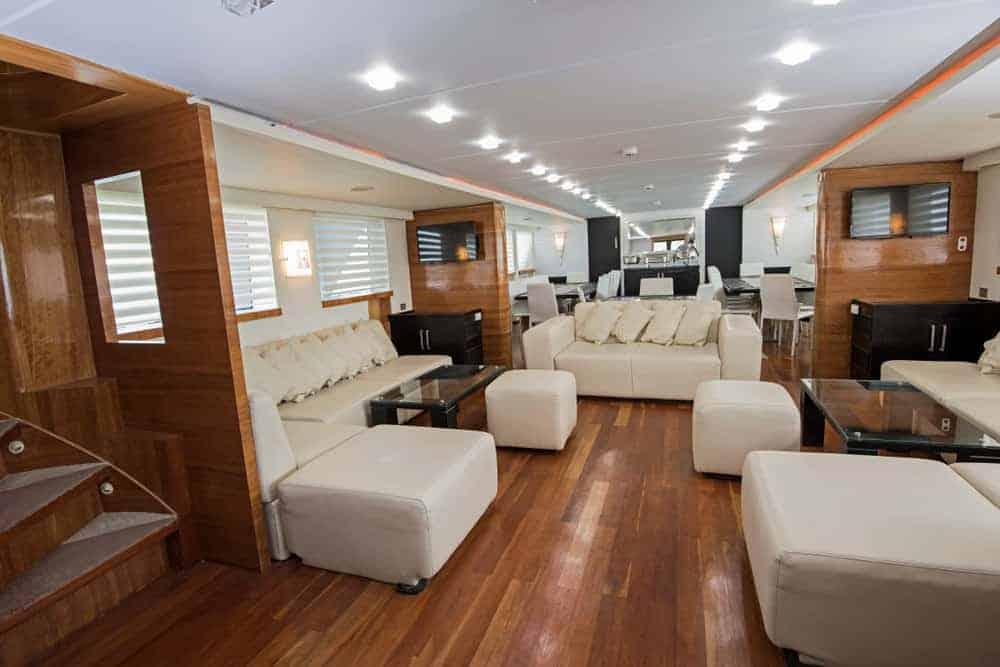 Large yacht salon interior