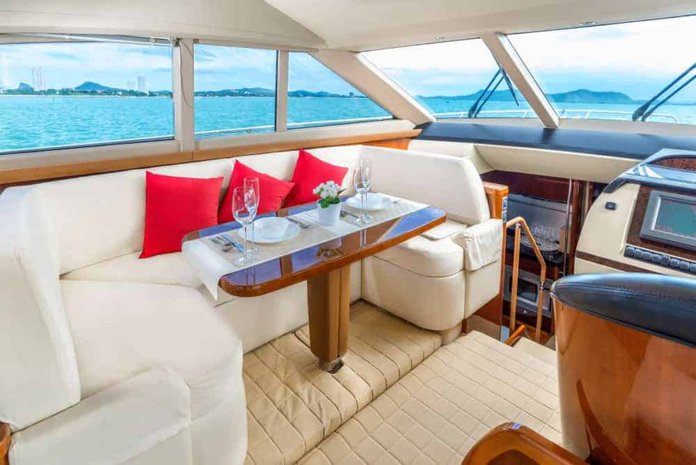 yacht upper dining area