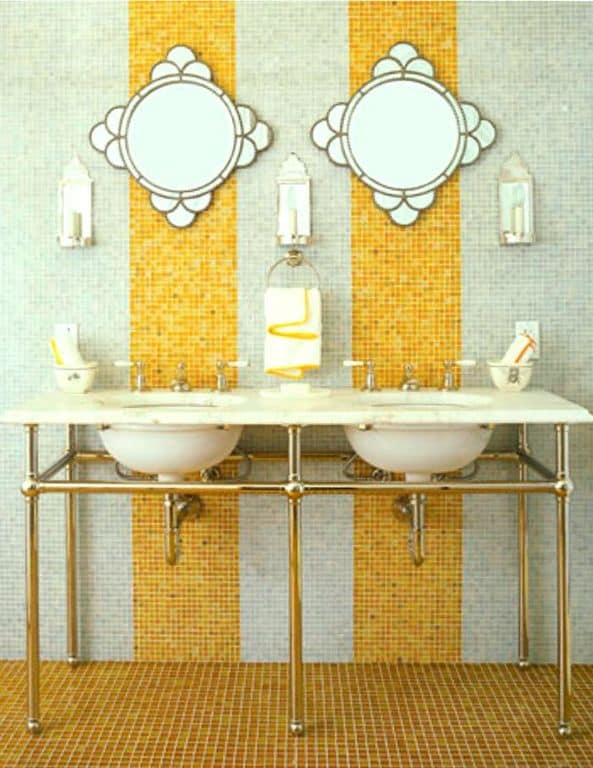 .Yellow accent powder room.