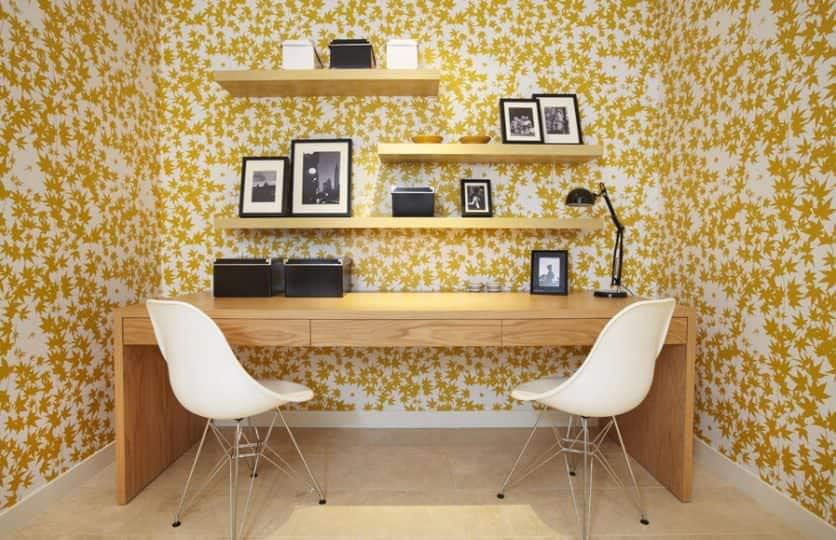 Yellow and brown home office.