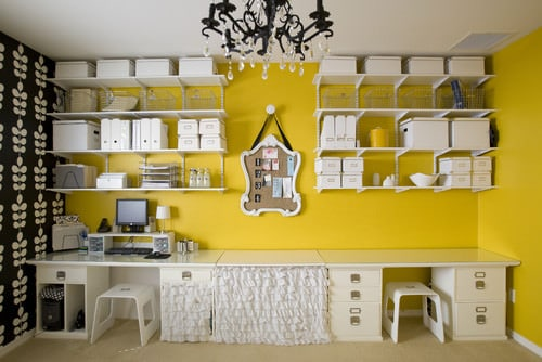 Yellow and white Contemporary home office.