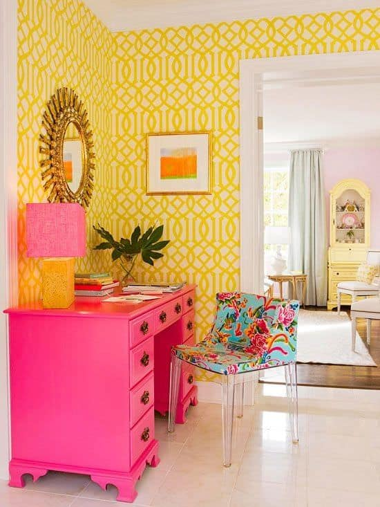 Yellow and pink Eclectic home office.