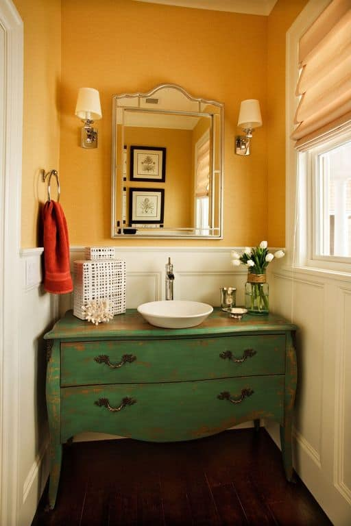 Yellow Shabby-Chic powder room.