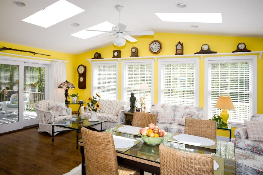 Yellow and white living room.
