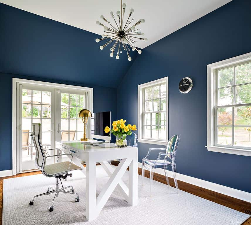 Blue Transitional home office.