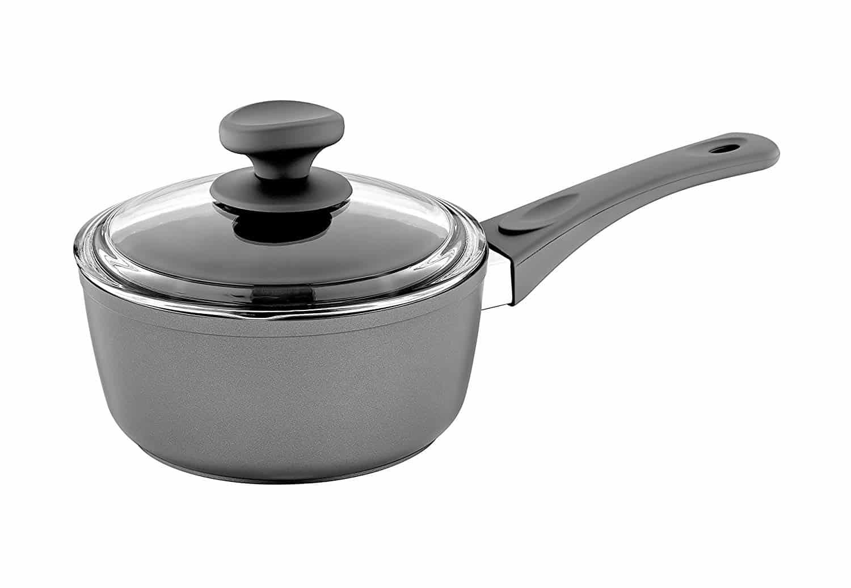 Saflon Titanium nonstick 1.5-quart sauce pan with tempered glass lid.