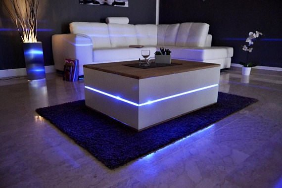 Modern coffee table with built in lighting