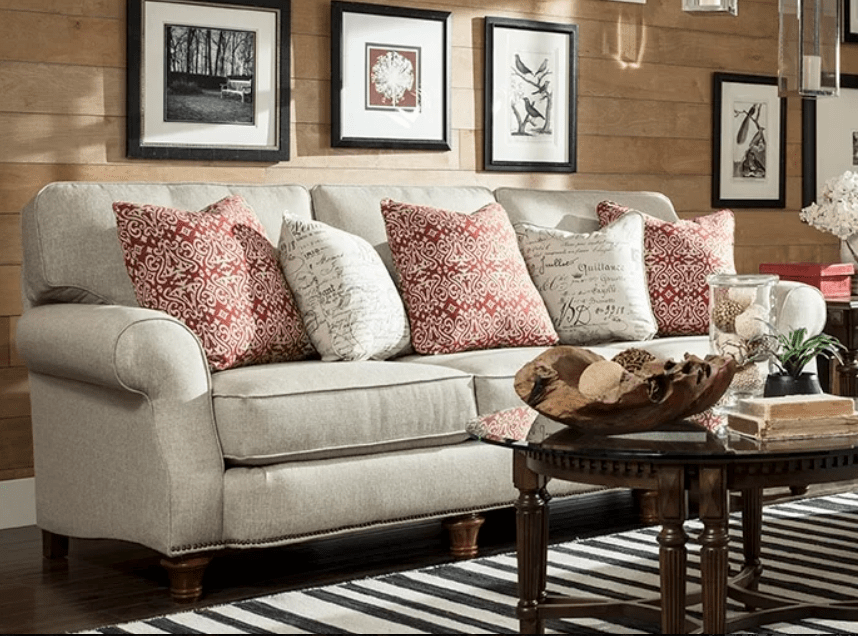 Gorgeous overstuff, comfortable sofa with large cushioned arms.