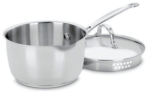 Chef's Classic stainless cook-and-pour 2-quart sauce pan with draining lid.