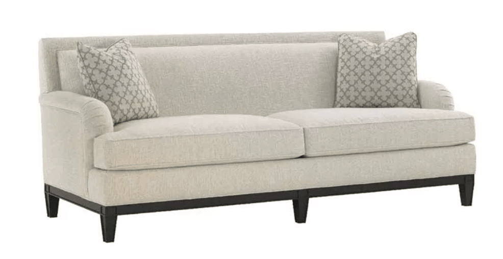 Interesting sofa design with a tiered look from front cushion to arm to rear cushion to sofa back