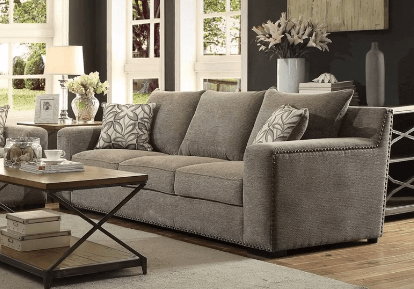 Simple upholstered brown sofa designed for comfort and looks good in most room designs