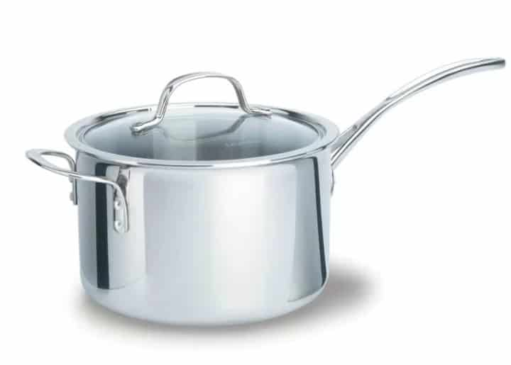Tri-ply 4.5-quarts stainless steel sauce pan with lid.