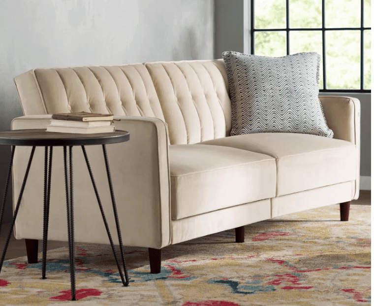 Tufted high back light beige sofa with exposed wood legs under $500
