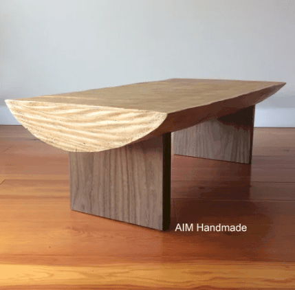 Geo-shaped half-cylinder coffee table all in wood