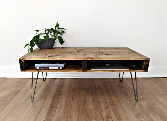 Storage style wood top coffee table with metal wire legs