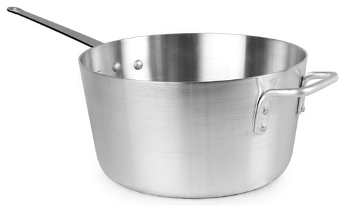10 Quart aluminum sauce pan with dent resistant and flat bottom for even heat distribution.