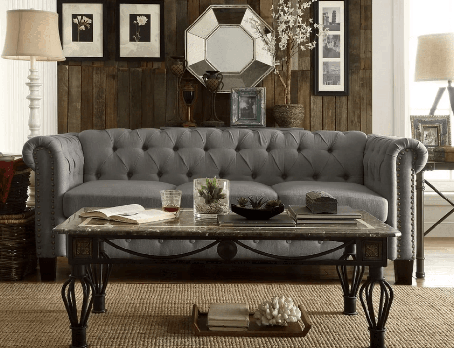 Gray upholstered chesterfield sofa under $500
